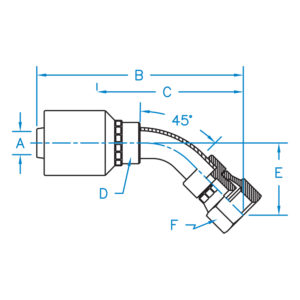 FEMALE SAE 45 - 45 DEG BENT TUBE SWIVEL